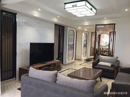 典雅102平中式四居客厅实景图片