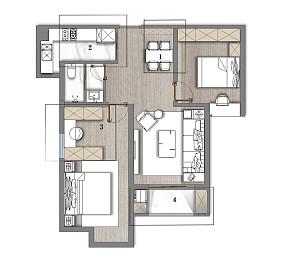 典雅84平美式二居实景图二居美式经典家装装修案例效果图