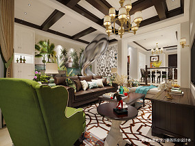 华丽300平美式别墅客厅装潢图客厅美式经典设计图片赏析