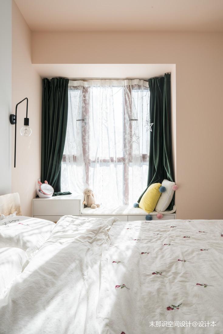 精简混搭风卧室飘窗设计卧室窗帘潮流混搭卧室设计图片赏析