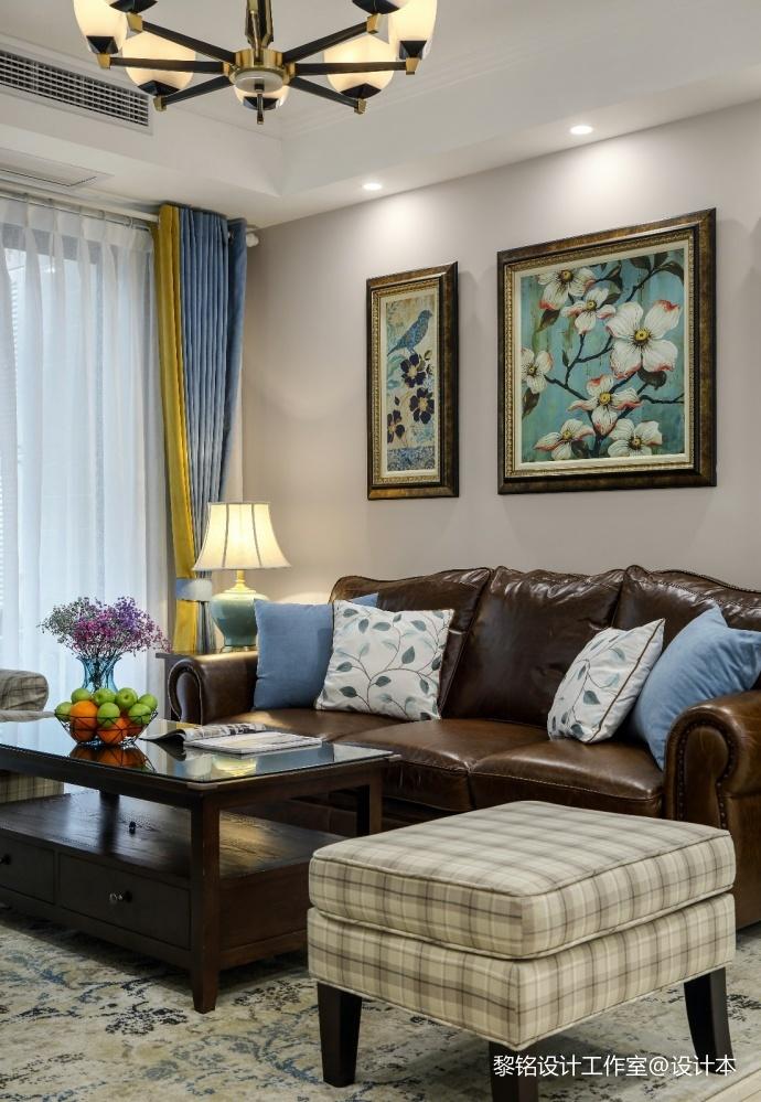 简单美式风客厅实景图片客厅窗帘美式经典客厅设计图片赏析