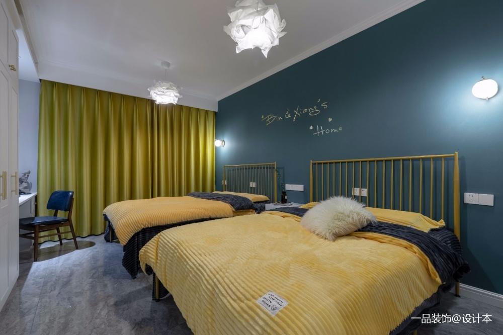 年轻化混搭风儿童房设计图卧室窗帘潮流混搭卧室设计图片赏析