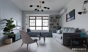 《清风微蓝》北欧风客厅吊灯图三居北欧极简家装装修案例效果图