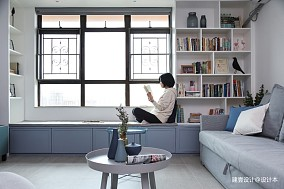 《清风微蓝》北欧风客厅书架设计三居北欧极简家装装修案例效果图