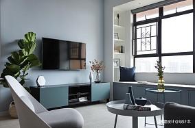 《清风微蓝》北欧风客厅电视柜设计三居北欧极简家装装修案例效果图