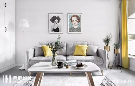 75㎡北欧客厅沙发图片二居北欧极简家装装修案例效果图