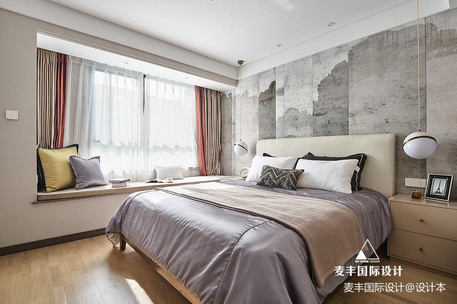 现代简约风卧室飘窗设计图卧室床现代简约卧室设计图片赏析