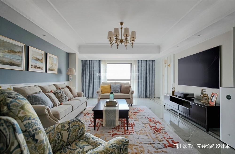 简单美式客厅吊灯图片客厅窗帘美式经典客厅设计图片赏析