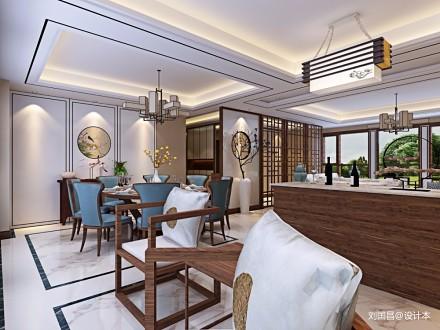 新中式大平层_3591307151-200m²四居及以上中式现代家装装修案例效果图