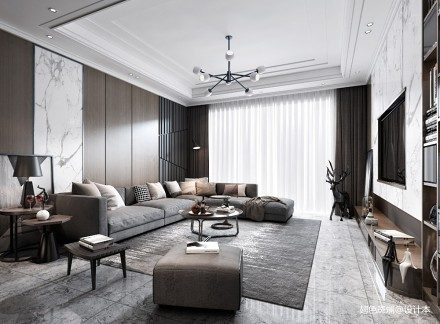 正祥香槟110平米平层设计_3594948三居现代简约家装装修案例效果图