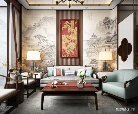 """昌明设计   """"宋"""" 最美新中式_3595297三居中式现代家装装修案例效果图"""
