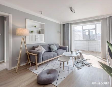 95平米北欧风客厅沙发图三居北欧极简家装装修案例效果图