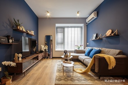 寝出于蓝_3595956二居潮流混搭家装装修案例效果图