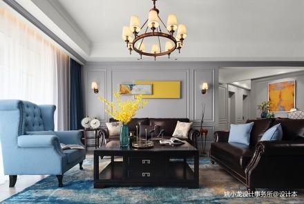 低奢新美式客厅吊灯图片二居美式经典家装装修案例效果图