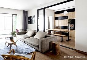 自然混搭风客厅书房设计三居潮流混搭家装装修案例效果图