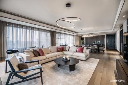 轻奢新中式客厅吊灯图片四居及以上中式现代家装装修案例效果图