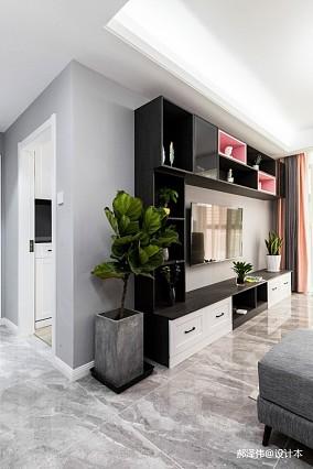 北欧风三居背景墙收纳柜设计客厅北欧极简设计图片赏析