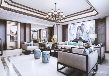 恒锦九龙湖别墅_3612539151-200m²别墅豪宅中式现代家装装修案例效果图