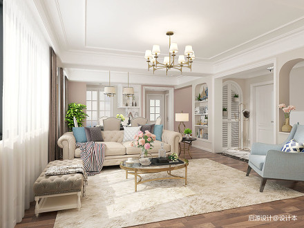现代美式+北欧风情——温馨舒压的居住空间_3613096复式美式经典家装装修案例效果图