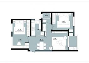 观恒设计 3房改2房的神操作二居北欧极简家装装修案例效果图
