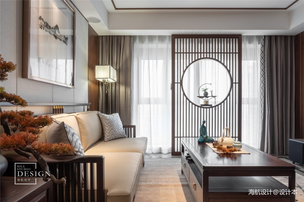 方圆之间只道寻常客厅窗帘中式现代客厅设计图片赏析