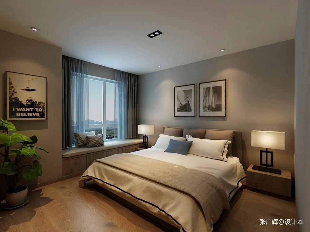 简约三室灰色雅居卧室北欧极简卧室设计图片赏析