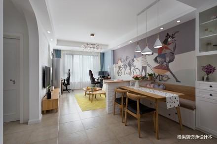 橙果装饰-85平现代风格现场成品_363605681-100m²二居现代简约家装装修案例效果图
