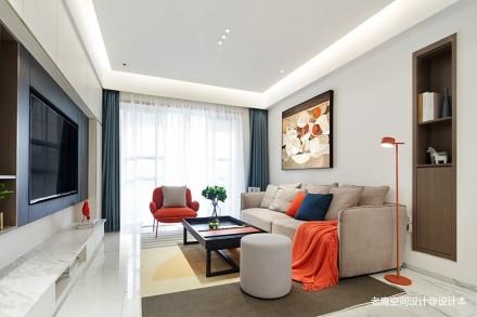 开放空间素色硬装+撞色软品互动趣味体验_3656574三居现代简约家装装修案例效果图