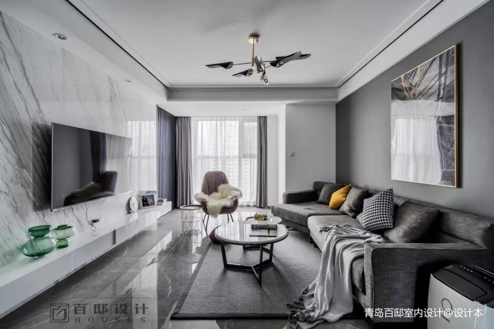 百邸星辰客厅背景墙现代简约客厅设计图片赏析