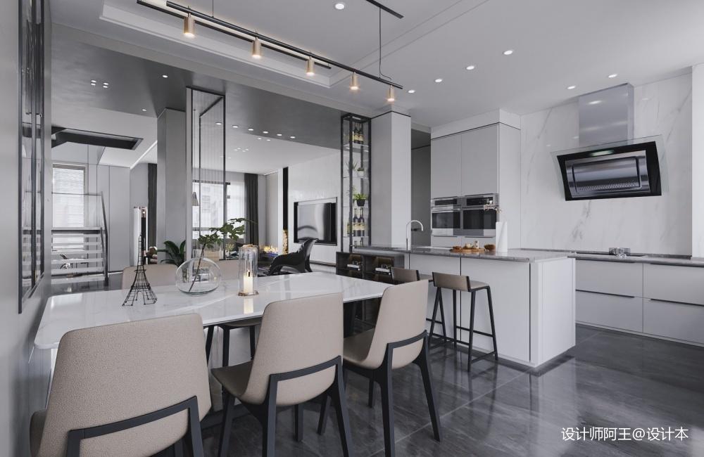 极简黑白灰精致的生活格调!厨房现代简约餐厅设计图片赏析