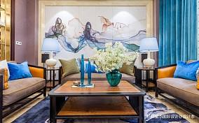 融创氿园新中式风格别墅装修客厅中式现代客厅设计图片赏析