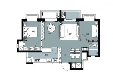 打通2套小公寓,获得舒适的生活大空间_3721975
