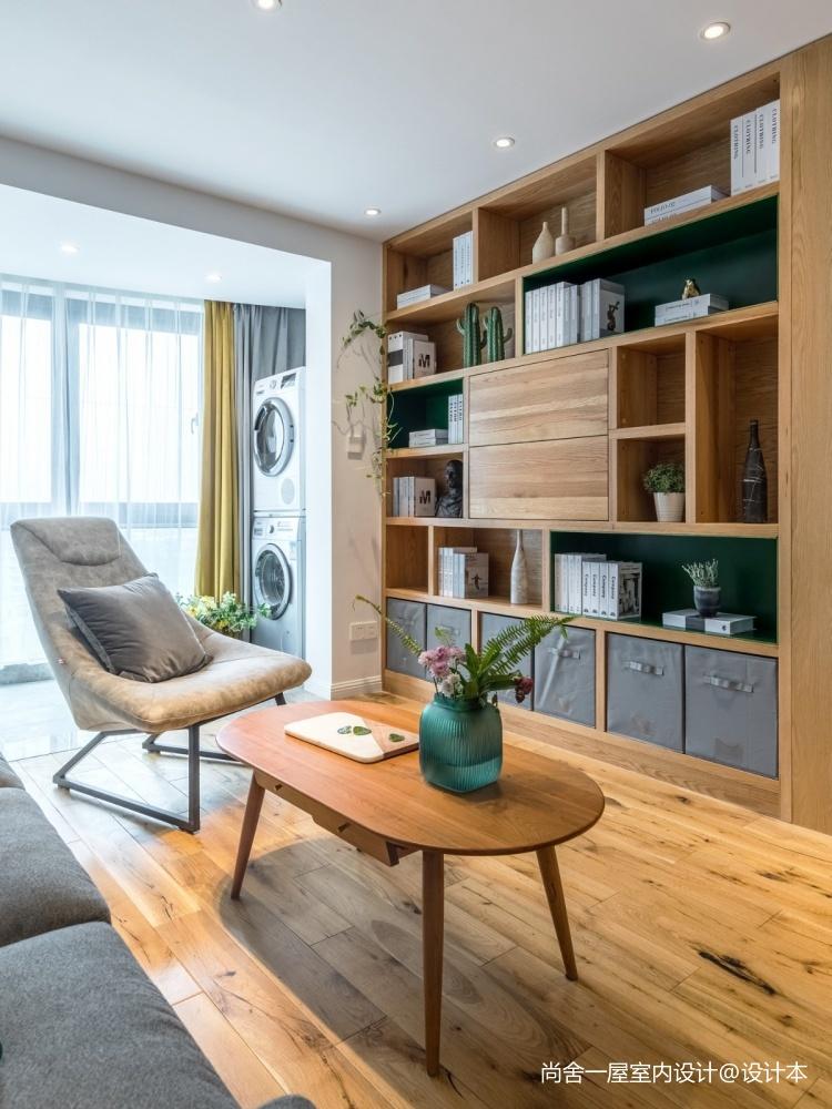 老师的家全面墙书柜客厅+隐形门设计客厅现代简约客厅设计图片赏析