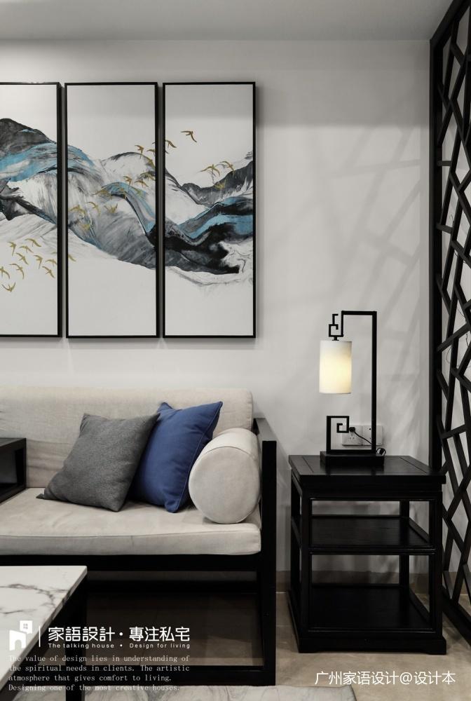 苏所·致渺客厅沙发中式现代客厅设计图片赏析