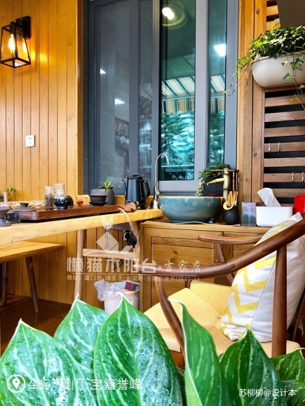 懒猫木阳台—禅意风阳台_3785054三居中式现代家装装修案例效果图