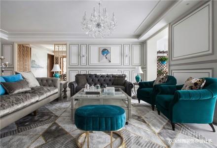 轻奢美式大平层,灰色营造气质美感_3794868复式美式经典家装装修案例效果图