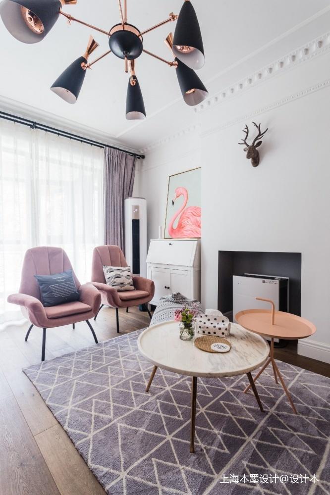 81㎡甜粉北欧风满屋都是恋爱的味道客厅窗帘其他客厅设计图片赏析