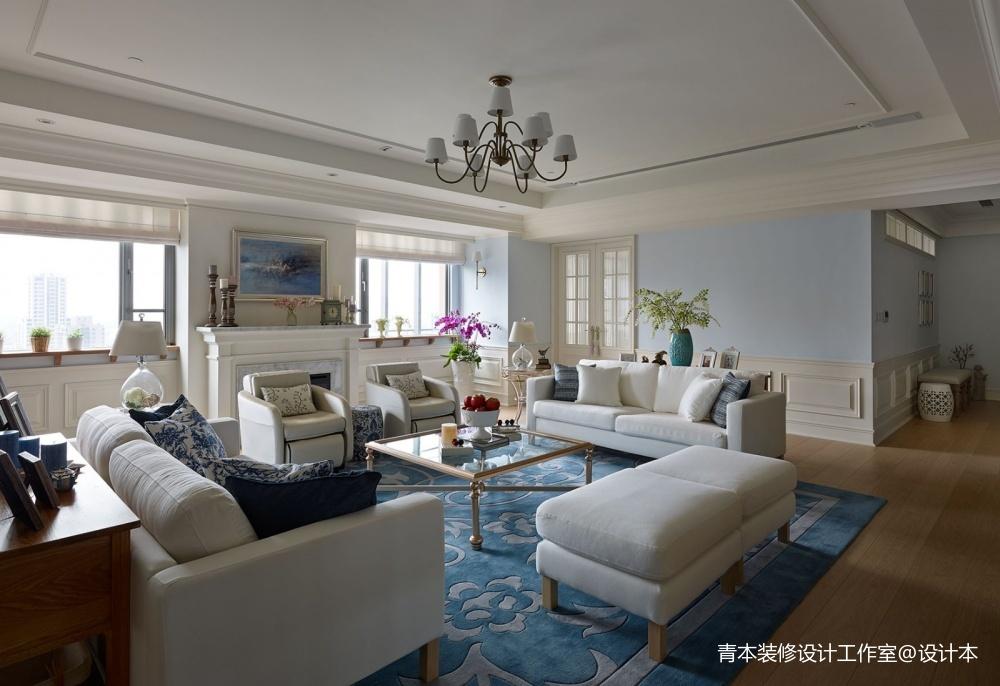遂川县三室一厅一厨两卫装修设计客厅美式田园客厅设计图片赏析