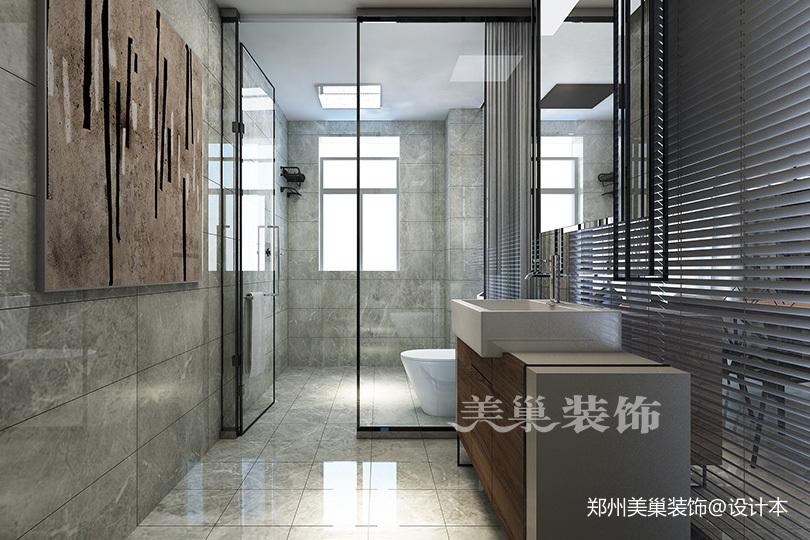 郑州康桥悦城125平三室装修后现代风格卫生间马桶现代简约卫生间设计图片赏析