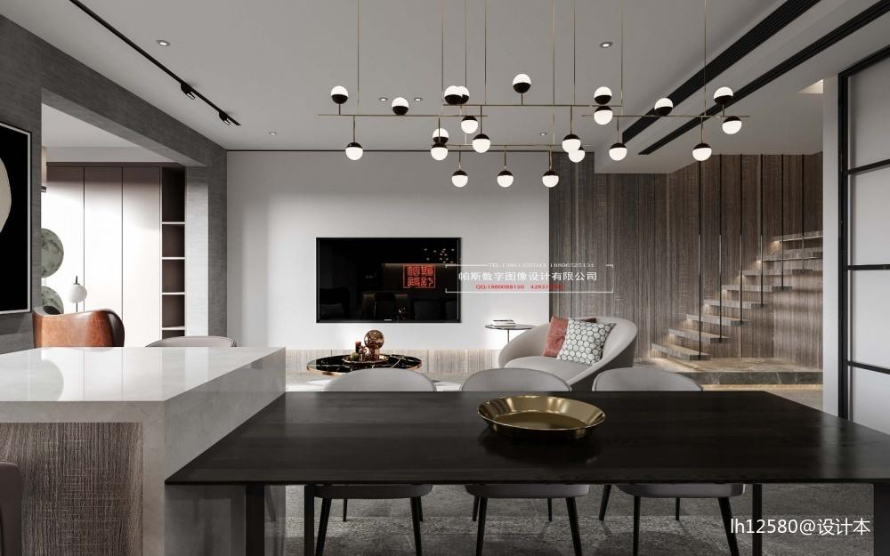 酷炫黑色空间客厅现代简约客厅设计图片赏析
