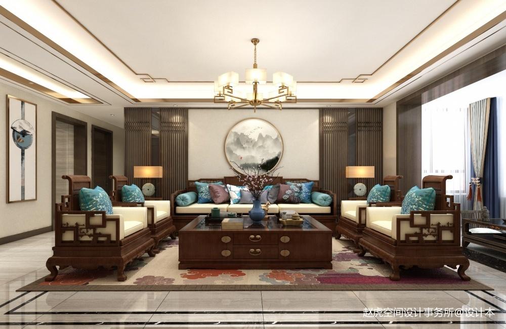 西安万达天越180中式赵虎空间设计客厅窗帘客厅设计图片赏析