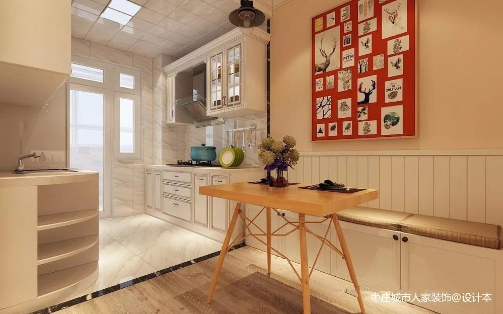 枣庄鸿鑫御景北欧风格装修设计方案效果图餐厅北欧极简厨房设计图片赏析