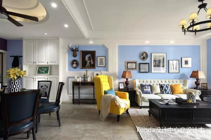 180平美式客厅美式经典客厅设计图片赏析