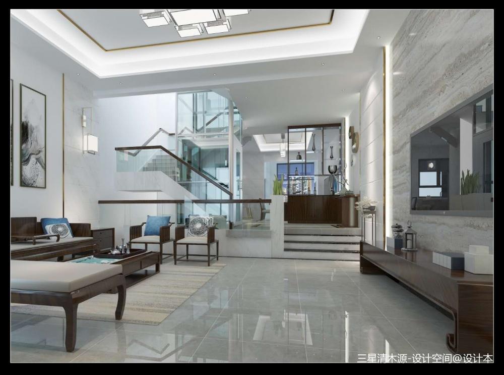翡俪港现中风格客厅中式现代客厅设计图片赏析