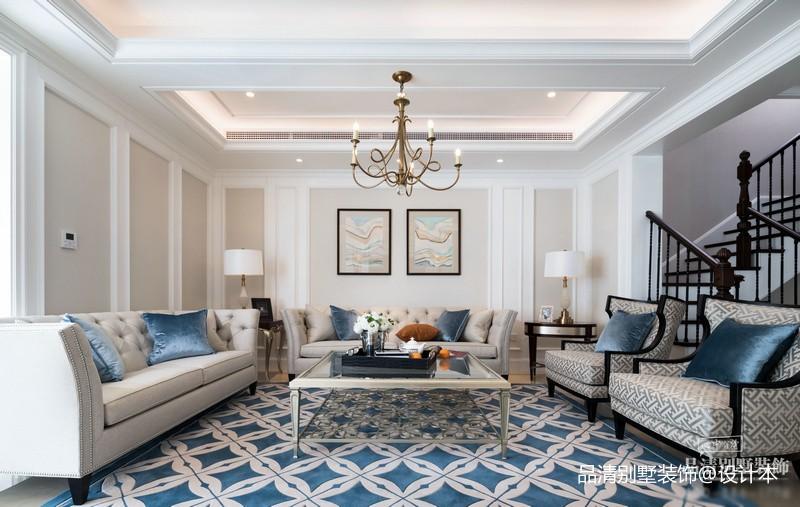 无锡别墅装修实景山水名苑摩登美式客厅美式经典客厅设计图片赏析