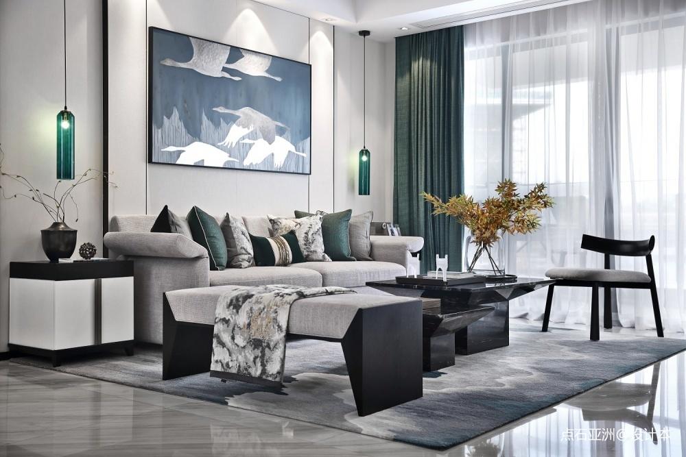 点石亚洲星河山海湾洋房样板间客厅中式现代客厅设计图片赏析