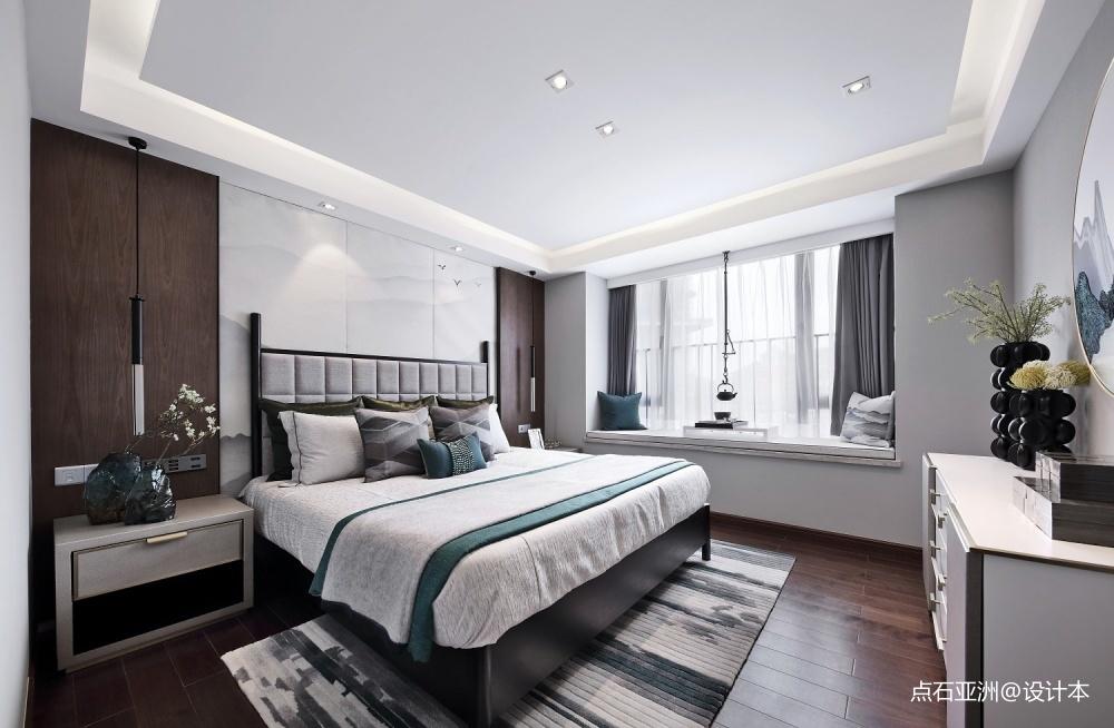 点石亚洲星河山海湾洋房样板间卧室中式现代卧室设计图片赏析