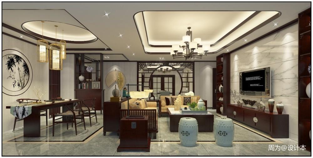 惠州自建房四居及以上中式现代家装装修案例效果图