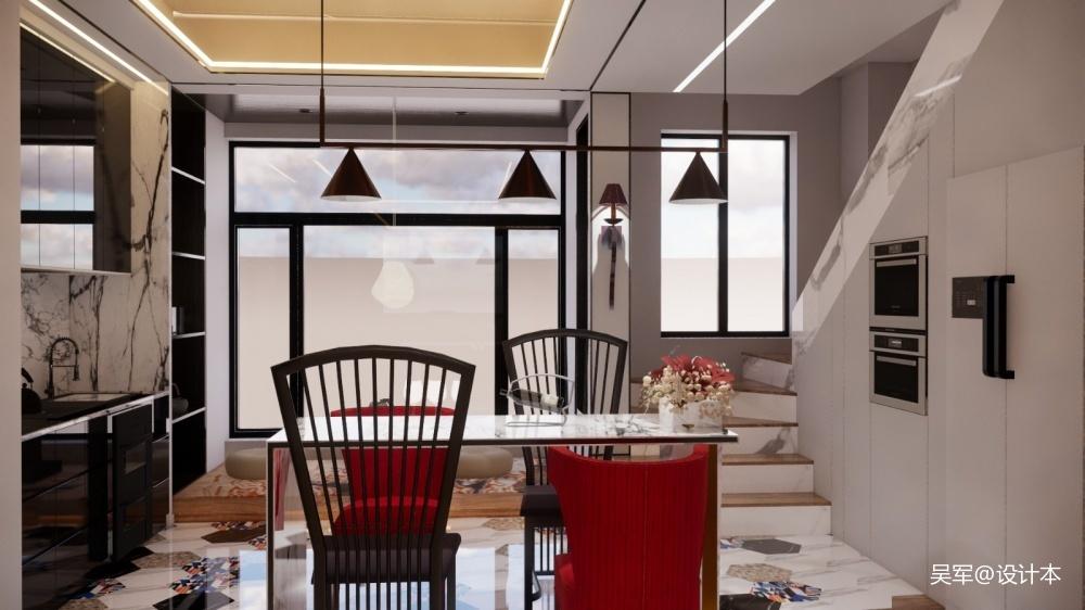 玫瑰庄园顶楼厨房中式现代餐厅设计图片赏析