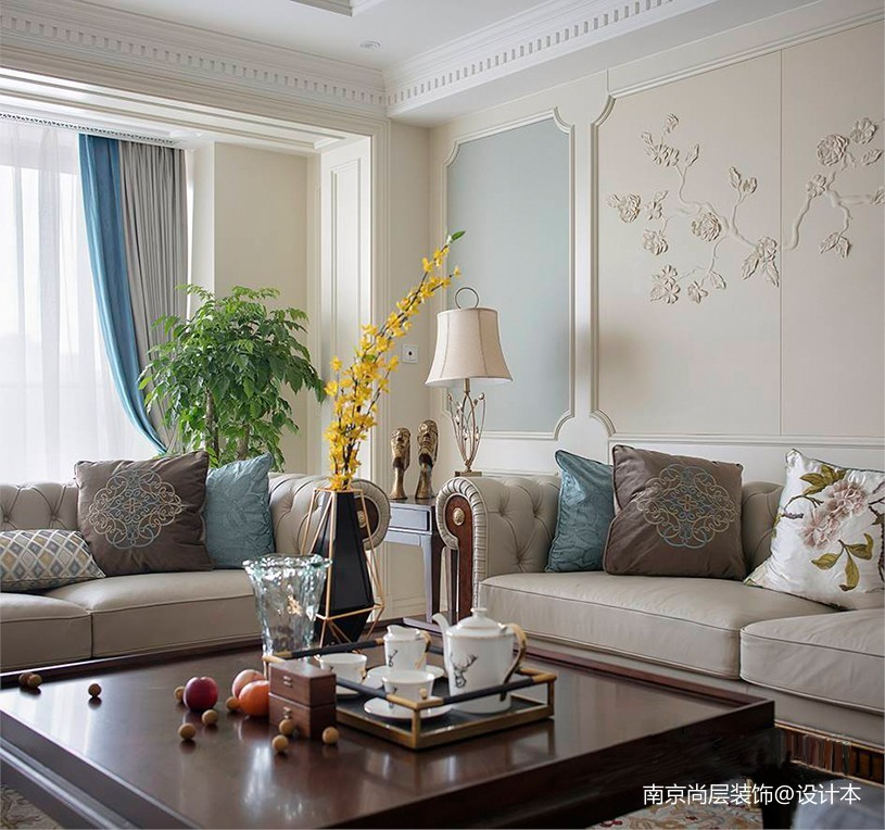 绿城黄浦湾明快的现代美式客厅其他客厅设计图片赏析